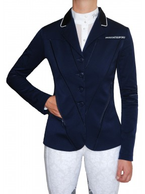 Navy Satin Piped 'Illusion' Jacket