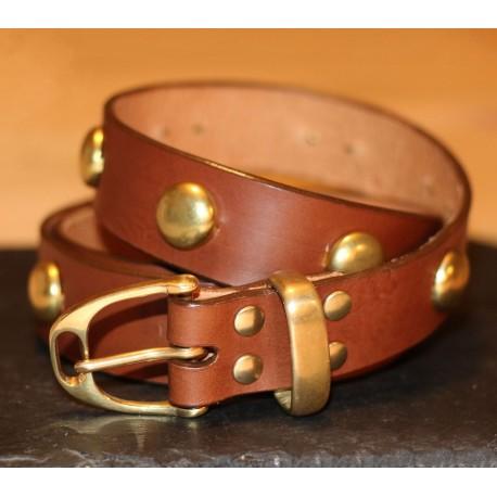 Studded Leather Stirrup Belt