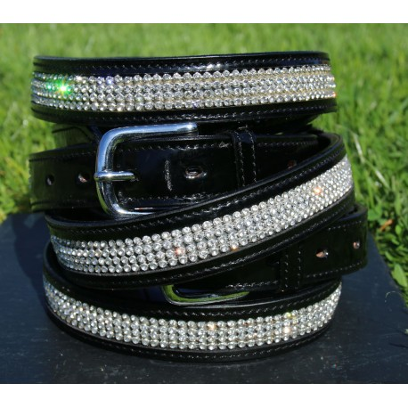 Patent Leather Diamante Belt