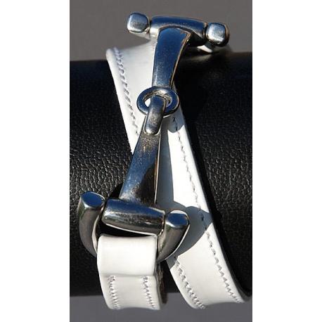 Patent leather bit clasp bracelet