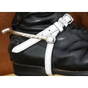 White patent leather spur straps