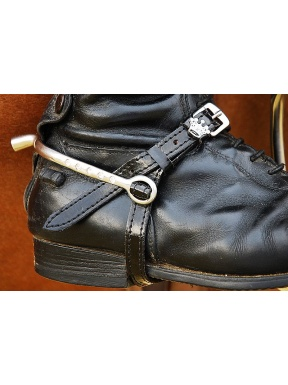 Black patent leather spur straps