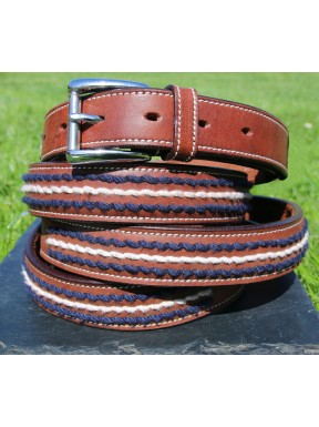 Stitch Detail Brown Leather Belt