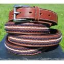 Stitch Detail Brown Leather Belt