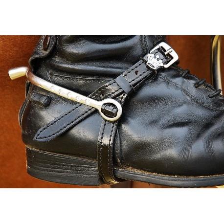 Black patent leather spur straps